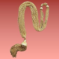 Extra Long Vintage Necklace by Monet Fluid Multi Chain Tassel