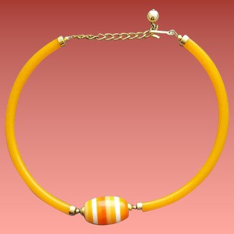 Rare Tube Necklace Circlet Cellulose Acetate and Lucite HTF 1970s