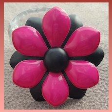 Vintage Brooch Enamel Metal Flower Pink Black 1960s