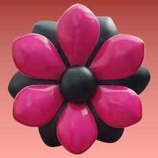 Vintage Brooch Enamel Metal Flower Pink Black 1960s