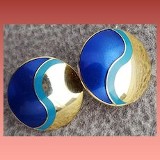 Laurel Burch Pierced Earrings Yin Yang Blue Gold