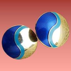 Laurel Burch Pierced Earrings Yin Yang Blue Gold