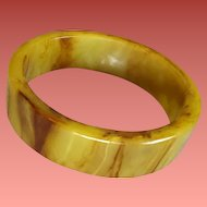 Bakelite Bangle Bracelet Chunky Marbled Light Olive with Brown