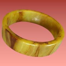 Bakelite Bangle Bracelet Chunky Marbled Light Olive with Brown