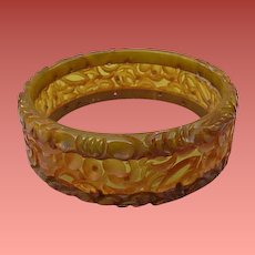 One of a Kind Bakelite Bangle Bracelet Laminated, Pierced, Fully Carved