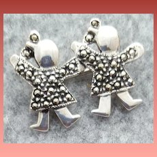 Twin Girls Brooch Sterling Silver Marcasite Mommy Gift