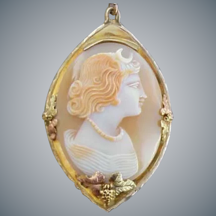 b783d36a8 Real Shell Cameo Necklace 10kt Gold Black Hills Setting Goddess Diana