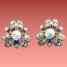 Vintage AB Rivoli Rhinestone Earrings Comfort Clips