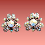 Vintage Rivoli Rhinestone Earrings Comfort Clips Convertible