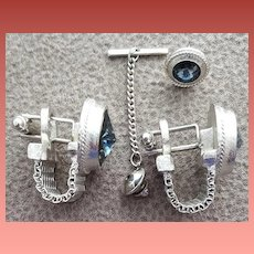 Men's Cufflinks and Tie Tack Cuff Wrap Style Rivoli Rhinestones