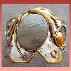Natural Agate Metal Cuff Bracelet Fantasy LARP Steampunk