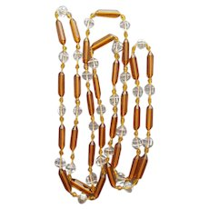 Crystal Bead Necklace Extra Long Flapper Style Hand Knotted
