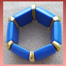 1980s Stretch Bracelet True Blue and Gold Small Medium Large