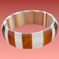 Brown and White Striped Bangle Bracelet Wide Domed 1970s