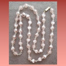 Long Givre Necklace Pink with White Beads Necklace 1960s Vintage