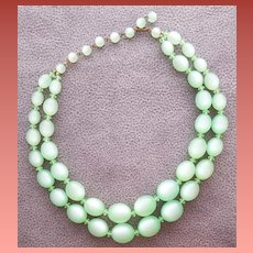 1950s Moonglow Lucite Bead Necklace Green Mist Mid Century