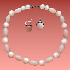 Moonglow Lucite Necklace and Earrings Precious Pink Beads`