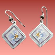 Early Laurel Burch Earrings Enamel Jasmine for Jodi