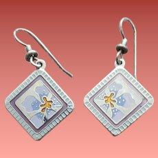 Early Laurel Burch Earrings Enamel Jasmine for Jodi