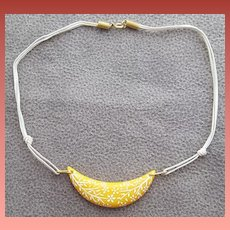Vintage Necklace Yellow Crescent White Flowers 1970s
