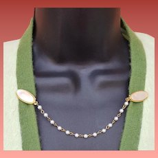 1960s Vintage Sweater Guard, Luminous Front Faux Pearl Chain