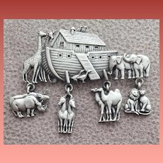 Noah's Ark Brooch with Charms Designer Signed J.J. Jonette Jewelry