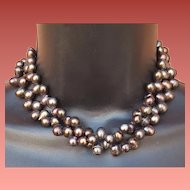 Long Freshwater Pearl Necklace Gunmetal Tear Drops