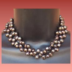 Long Freshwater Pearl Necklace Gunmetal Tear Drops