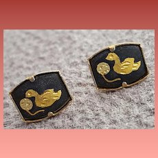 Vintage Japanese Damascene Pierced Earrings Very Small