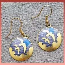 Vintage Pierced Earrings Gold Tone Birds in a Blue Enamel Sky 1970