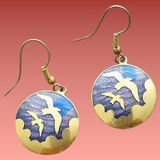 Vintage Pierced Earrings Gold Tone Birds in a Blue Enamel Sky 1970