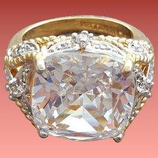 Nolan Miller Cocktail Ring Huge Cushion Cut Crystal Rhinestone Size 8