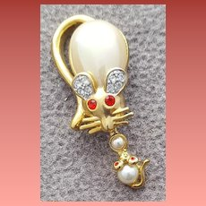 Mom and Baby Mouse Brooch Faux Pearl Belly Rhinestones