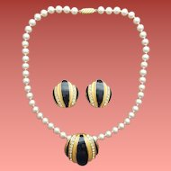 Faux Pearl Necklace Enamel Rhinestone Enhancer with Earrings