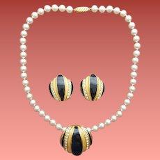 Faux Pearl Necklace Enamel Rhinestone Enhancer with Earrings