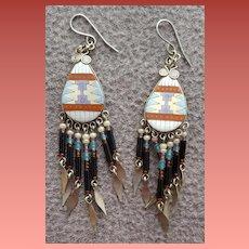 Pierced Earrings American Indian Motif Beaded Glass Dangles