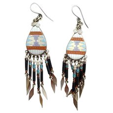 Pierced Earrings American Indian Motif Beaded Glass Dangles