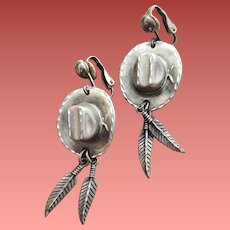 Clip Earrings Cowboy Hats with Feathers Southwest 1992