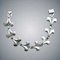 Sterling Silver Bracelet Fleur de Les 1943 Artistic Silver Craft NY