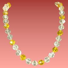 1960s Faceted Lemon Lucite Necklace Spring and Summer