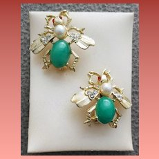 1950s Bug Scatter Pins Faux Jade and Pearl Insects