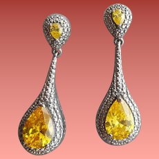 Sterling Silver Pierced Earrings Citrine CZ 1920s Art Deco Style