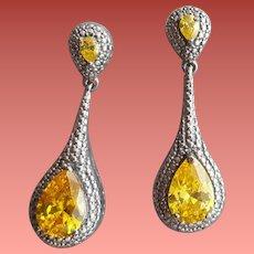 Sterling Silver Pierced Earrings Citrine CZ 1920s Art Deco Style