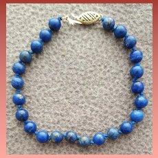 Lapis Bead Bracelet 7-1/4 inches Smaller Wrist 14k GF