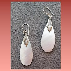 Mother Of Pearl Tear Drop Earrings Fancy Sterling Caps