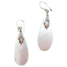 Mother Of Pearl Tear Drop Earrings Fancy Sterling Caps