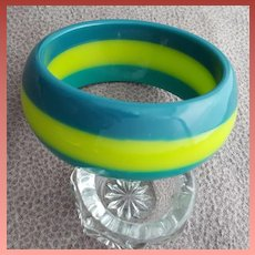 Wide Lucite Bangle Bracelet Teal Pineapple and Pine Green