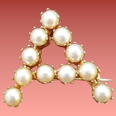 Initial A Brooch Monogram Pin Faux Pearls