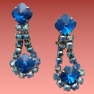 1960s Clip Earrings / Blue Emerald Cut Rivoli Rhinestones