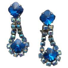 1960s Clip Earrings / Blue Rivoli Rhinestones